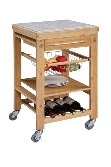 kitchen island cart marble top solid bamboo granite top kitchen island cart 8154