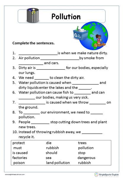 Pollution Cloze Passage English Reading Worksheet  English Treasure Trove