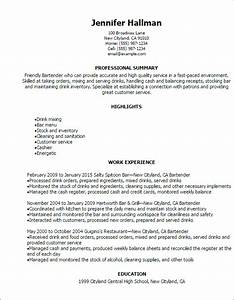 Professional bartender resume templates to showcase your for Bartender resume template