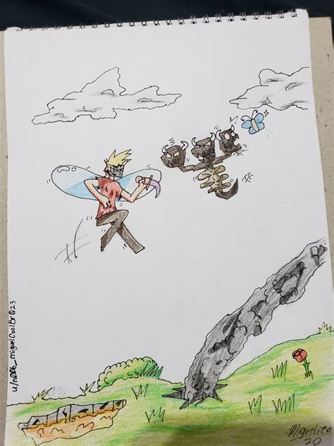 My first drawing about HC! Grian fighting Wither : HermitCraft