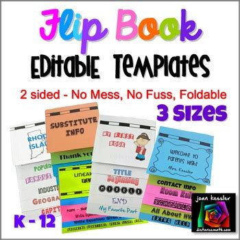 editable flip book template bundle foldable  mess  sizes