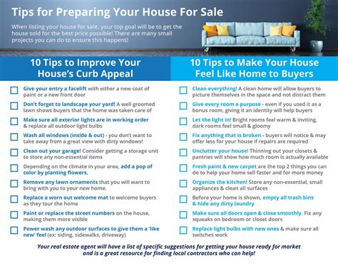 Design Tips For Selling Your Home by 20 Tips For Preparing Your House For Sale Infographic