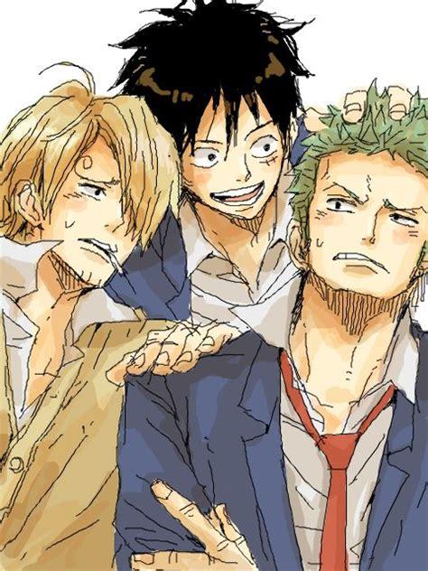piece trio luffy monster sanji zoro anime boy yaoi monkey cute manga law google nami trafalgar allen roronoa costume fanart