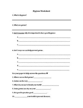 health and hygiene worksheet by bulthuis bonanza tpt