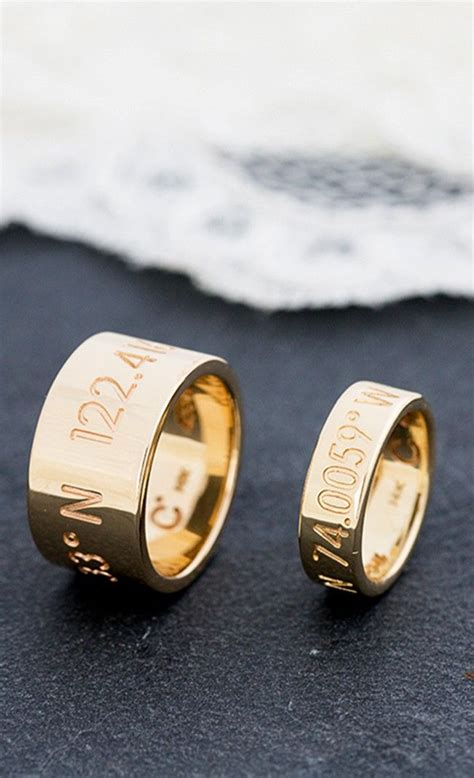 his and her wedding bands with location coordinates your