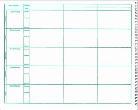 weekly lesson plan book  period format additional photo