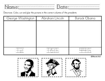 presidents day worksheet pre k through 1st social