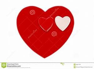 Un Coeur Rouge Et Petit Coeur Deux Pour Le Saint Valentin