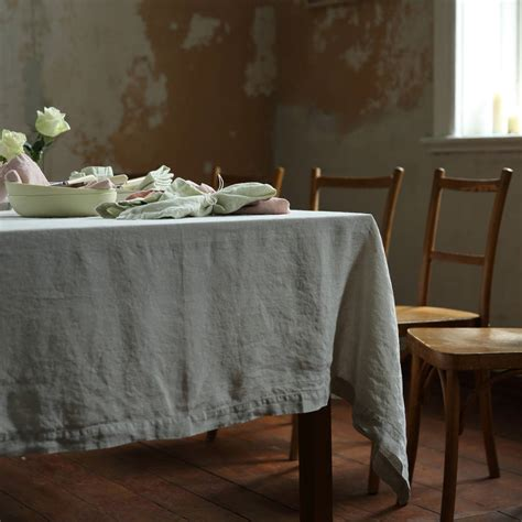 stone washed silver linen tablecloth  linen
