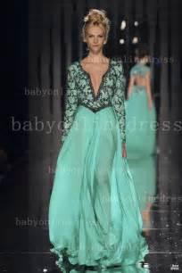 designer evening dresses 2014 designer summer prom dresses chiffon v neck sleeves beaded runway pageant evening