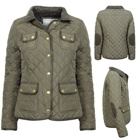 womens quilted jackets new womens khaki quilted jacket coat faux leather collar