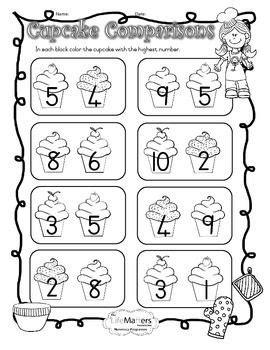 cupcake comparisons coloring worksheet  numbers