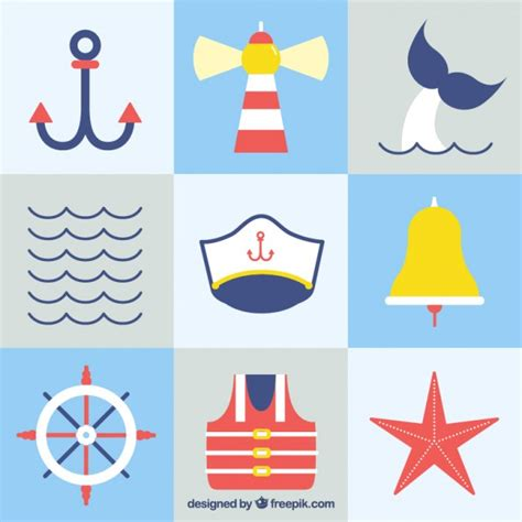 Sailing Boat Elements by Collage Of Flat Sailing Elements Vector Free Download