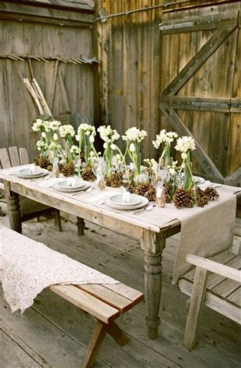 winter wedding place card table pinecone place card holders 18 beautiful outdoor table settings digsdigs