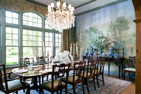 Formal Dinner Timothy Corrigan by The Dining Room Covered In Custom Wallpaper Printed On