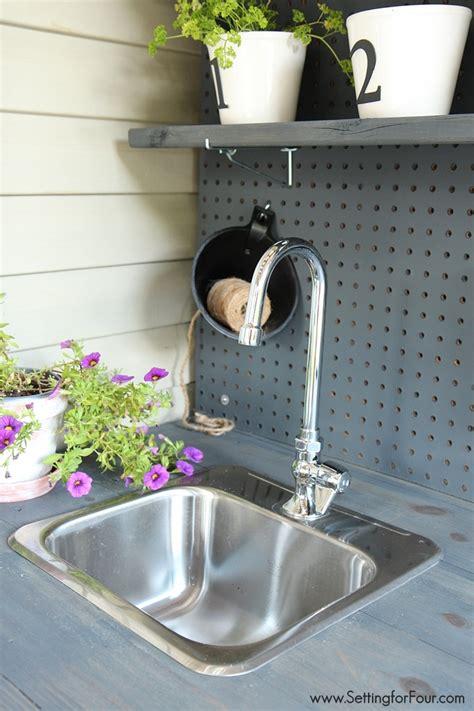 diy potting bench  sink setting