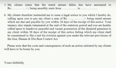 send  legal notice  important points