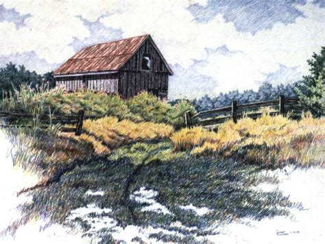 landscape drawings  coloured pencil colored pencil