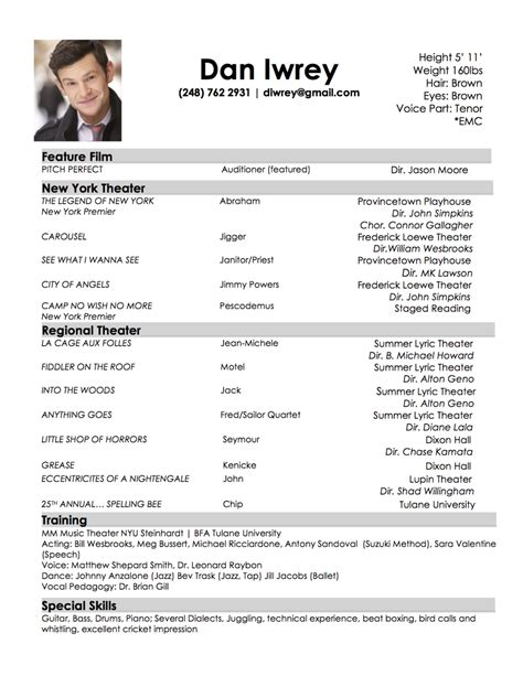 resume format for acting auditions resume best template collection