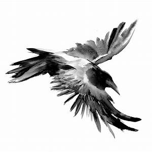 Flying Raven Painting by Suren Nersisyan