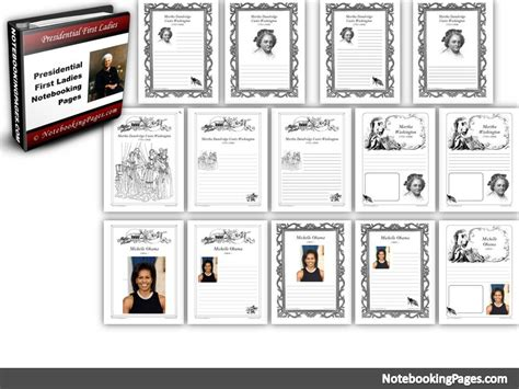 presidential  ladies notebooking pages notebooking
