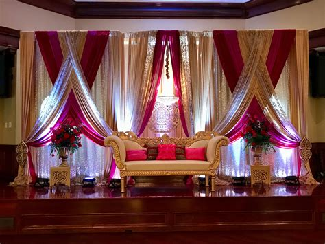 reception stage decoration indian red and chagne www