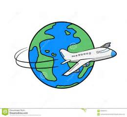 travel around the world clipart stock vector image illustration airplane flying globe
