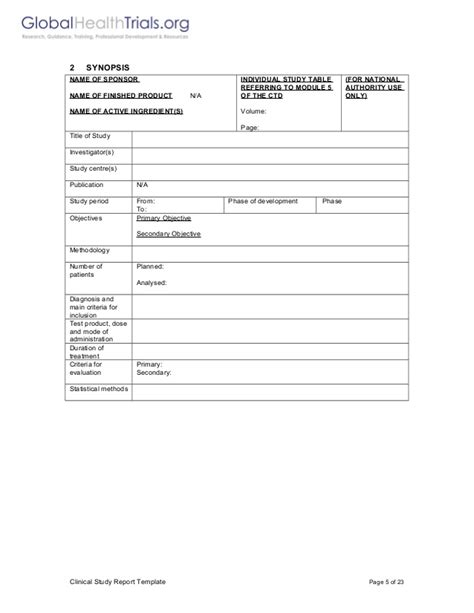 clinical study report template ght
