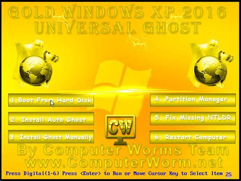 gold xp  universal ghost bootable iso   computer worms team