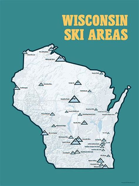 wisconsin ski resorts poster map  maps