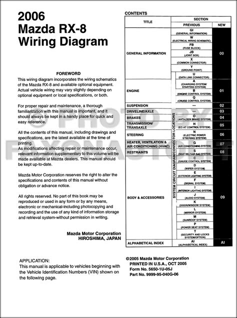 2006 Mazda RX-8 Wiring Diagram Manual Original RX8