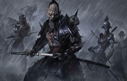Samurai Orc Katana Scary Rain Evil Wallpapers
