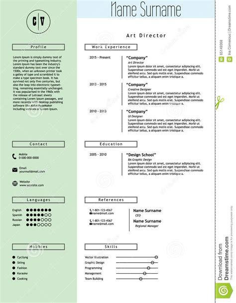 vector creative resume template minimalist style stock