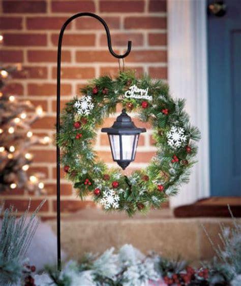solar stake christmas lantern wreath yard decor