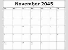 November 2045 Print Blank Calendar