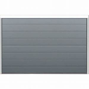 Porte sectionnelle velocia rainure woodgrain gris for Porte de garage gris anthracite