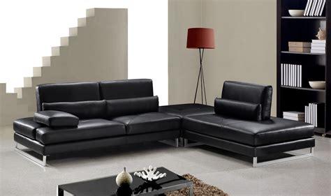 Tango Modern Black Leather Sectional Sofa