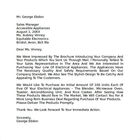 sample letter  intent  purchase business