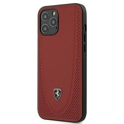Cover iphone 12 pro max. Ferrari On Track Perforated Hard Case Metal Logo for iPhone 12 Pro Max - Red   eBay