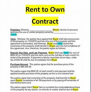 Rent to own contract doc and pdf forms examples sample for Rent to buy contract template