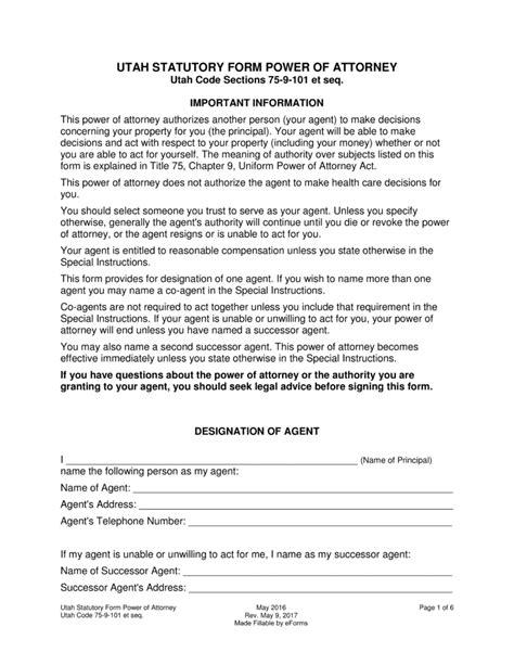 free power of attorney form utah free printable general
