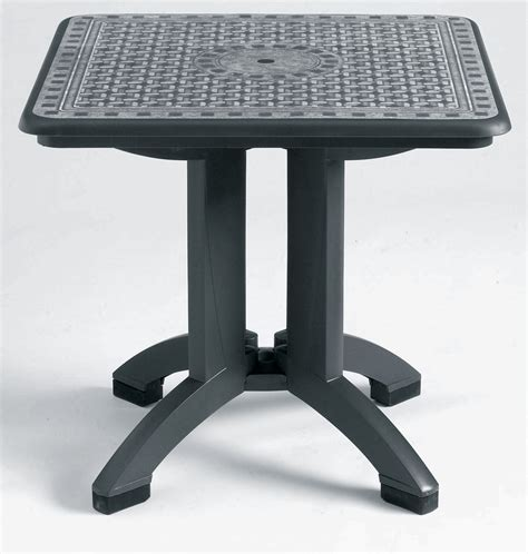 table cuisine retractable 32 quot square charcoal grosfillex toledo synthetic metal