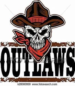 Outlaws cowboy skull Clip Art | k28300959 | Fotosearch