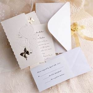 elegant ivory butterfly art deco tri fold affordable With wedding invitations cheap but elegant