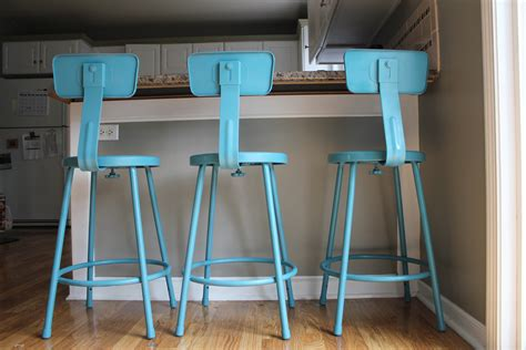 bar stool for kitchen island project painted teal barstools hearthavenhome