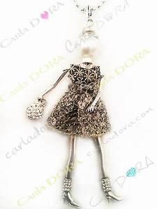 collier figurine fille fantaisie bijou sautoir charm femme With robe pour mariage cette combinaison bijoux fantaisie argent