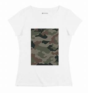 Tee Shirt Camouflage Femme : t shirt femme camo vert rectangle coupe femme grafitee ~ Nature-et-papiers.com Idées de Décoration