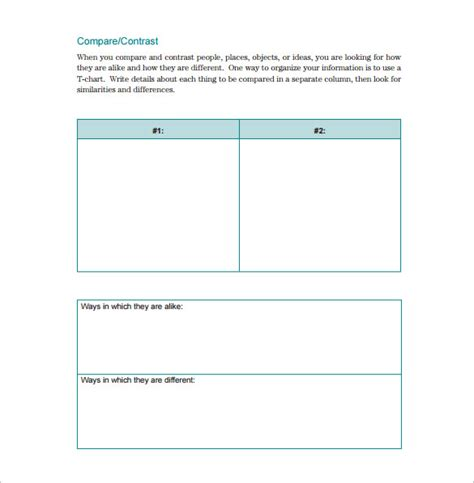compare and contrast template t chart template 15 exles in pdf word excel free premium templates