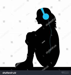 Silhouette Sad Girl Listening Music Stock Vector 507253198 ...