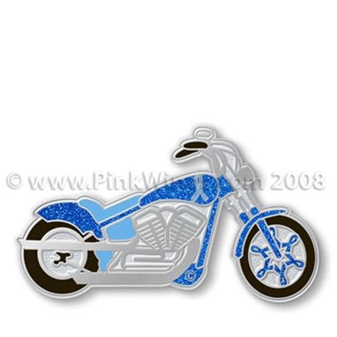 motorcycle blue prostate  colon cancer awareness pin